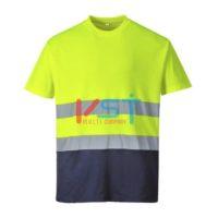 Тенниска двухцветная хлопковая PORTWEST S173 желтая/темно-синяя