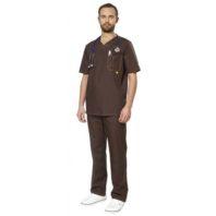 Комплект АУРА мужской коричневый (блуза и брюки) 169411