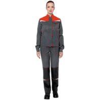 Костюм КМ-10 ЛЮКС женский КОС 066 серый с красным и черным